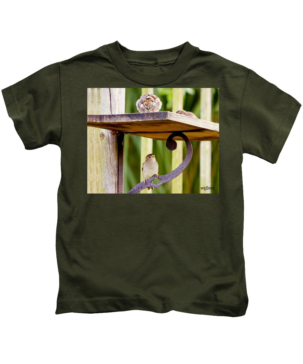Terns Kids T-Shirt featuring the photograph Birds On The Feeder by W Gilroy
