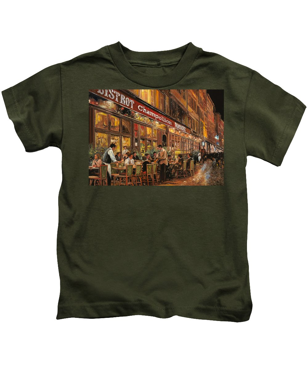 Street Scene Kids T-Shirt featuring the painting Bistrot Champollion by Guido Borelli