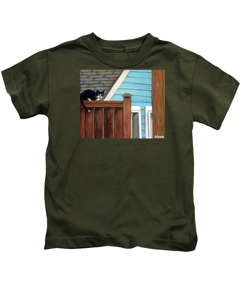 Cat Kids T-Shirt featuring the painting Black Alley Cat by Minaz Jantz