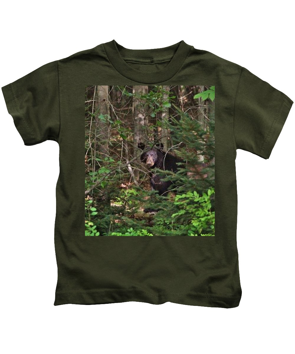Bear Kids T-Shirt featuring the photograph Black Bear by Raquel Rogers
