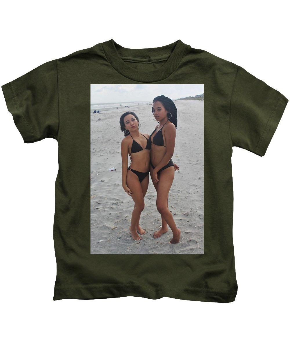 Ebony Kids T-Shirt featuring the photograph Black Bikinis 20 by Christopher White