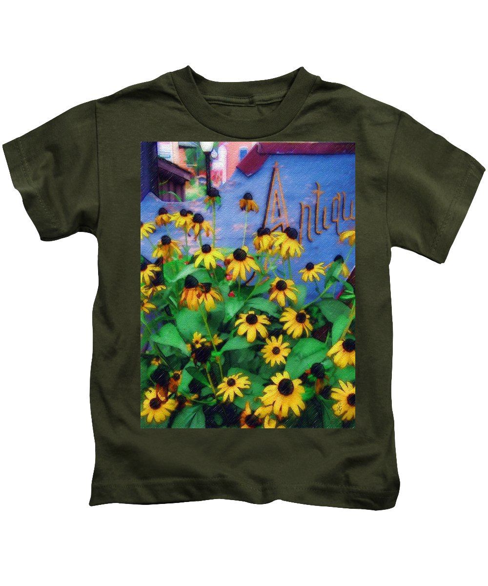 Flowers Kids T-Shirt featuring the photograph Black-eyed Susans At The Bag Factory by Sandy MacGowan