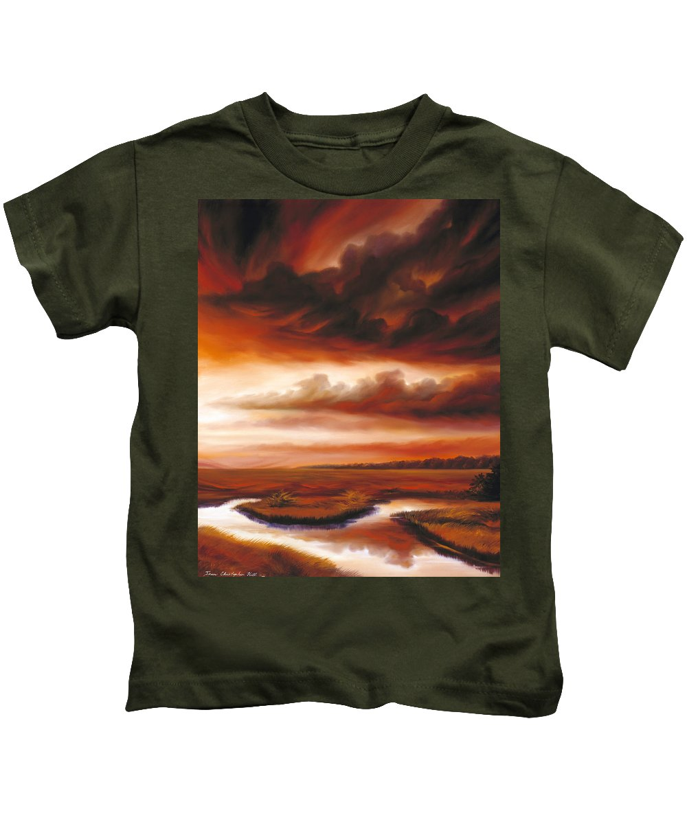 Contemporary Kids T-Shirt featuring the painting Black Fire by James Christopher Hill