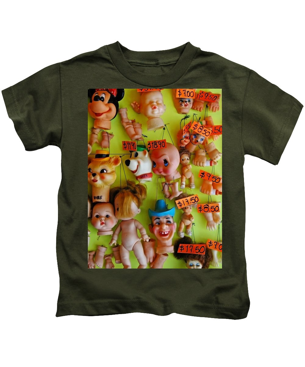 Heads Kids T-Shirt featuring the photograph Black Market Parts by Skip Hunt