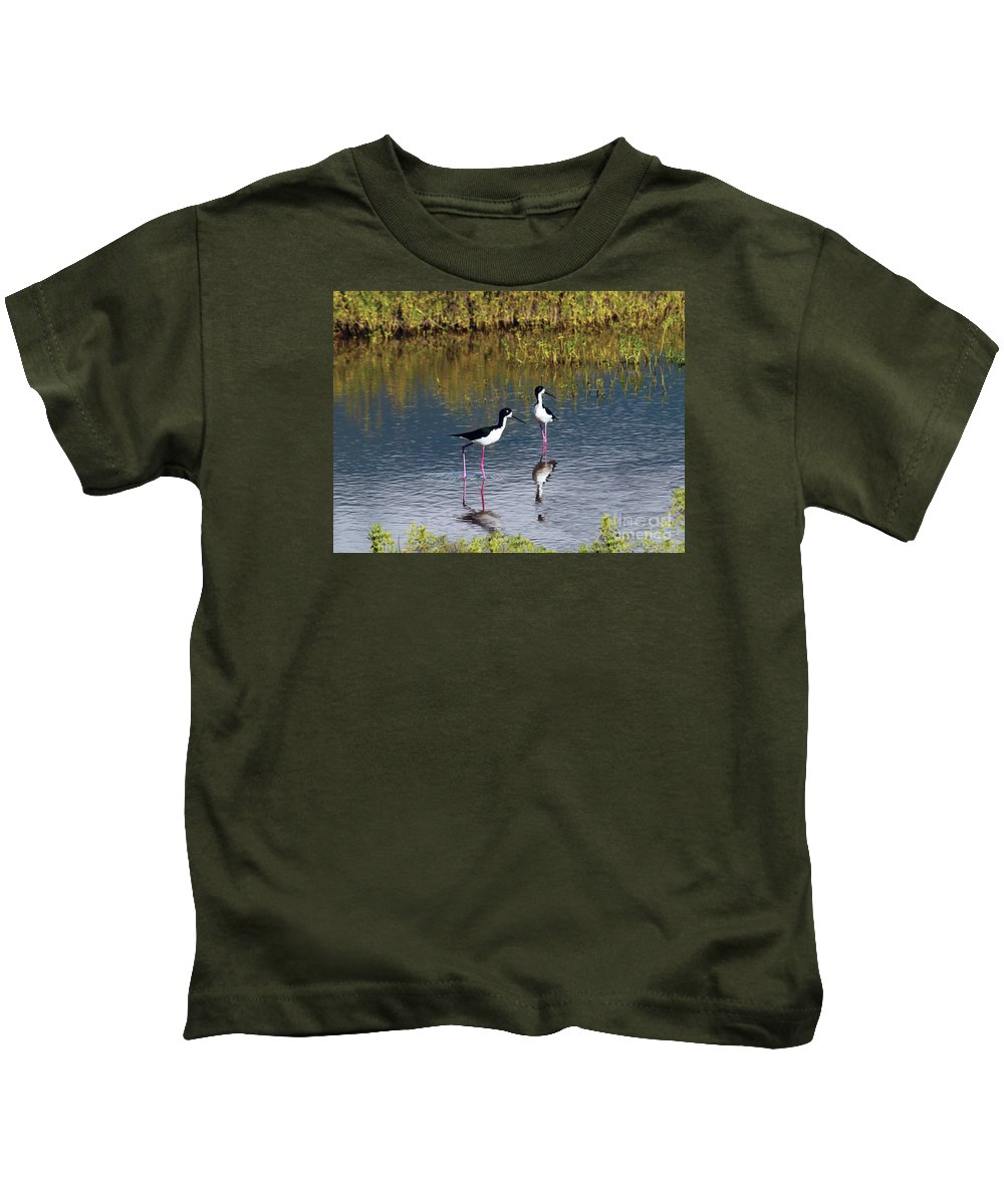 Fine Art Photography Kids T-Shirt featuring the photograph Black-necked Stilts by Patricia Griffin Brett