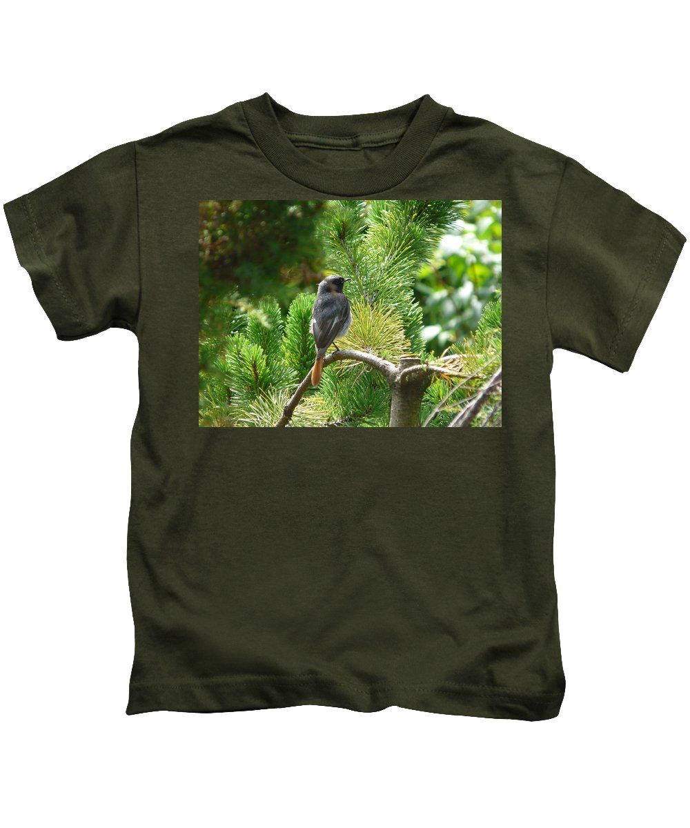Bird Kids T-Shirt featuring the photograph Black Redstart by Valerie Ornstein
