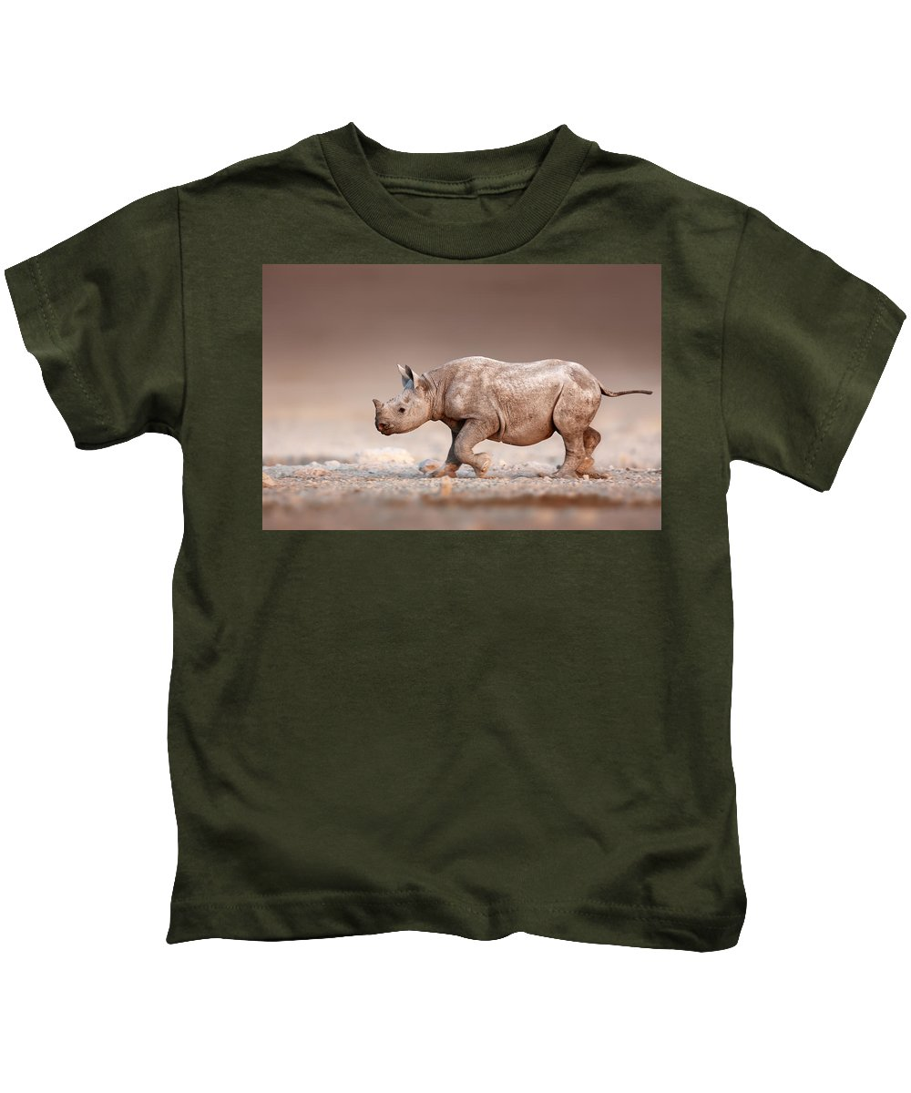 Rhinoceros Kids T-Shirt featuring the photograph Black Rhinoceros Baby Running by Johan Swanepoel