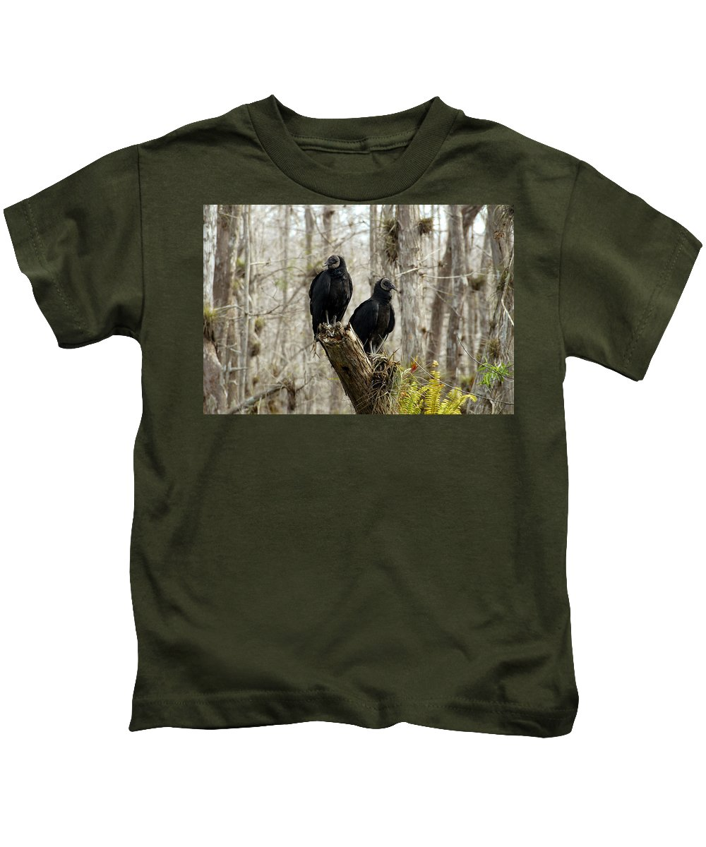 Black Vultures Kids T-Shirt featuring the photograph Black Vultures by David Lee Thompson