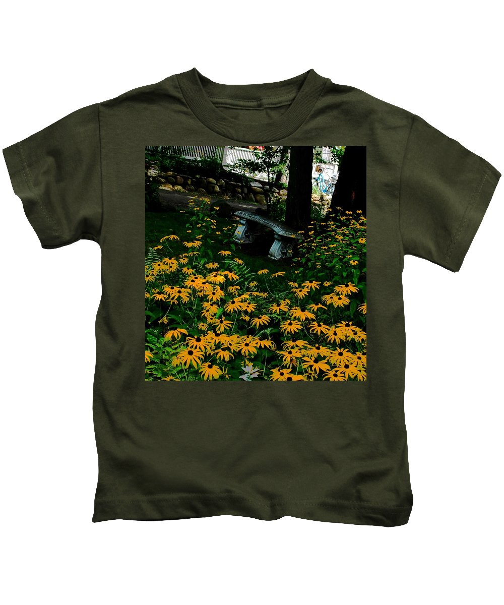 Autumn Kids T-Shirt featuring the photograph Blackeyed Susan Bench by Eileen Marie Ardillo