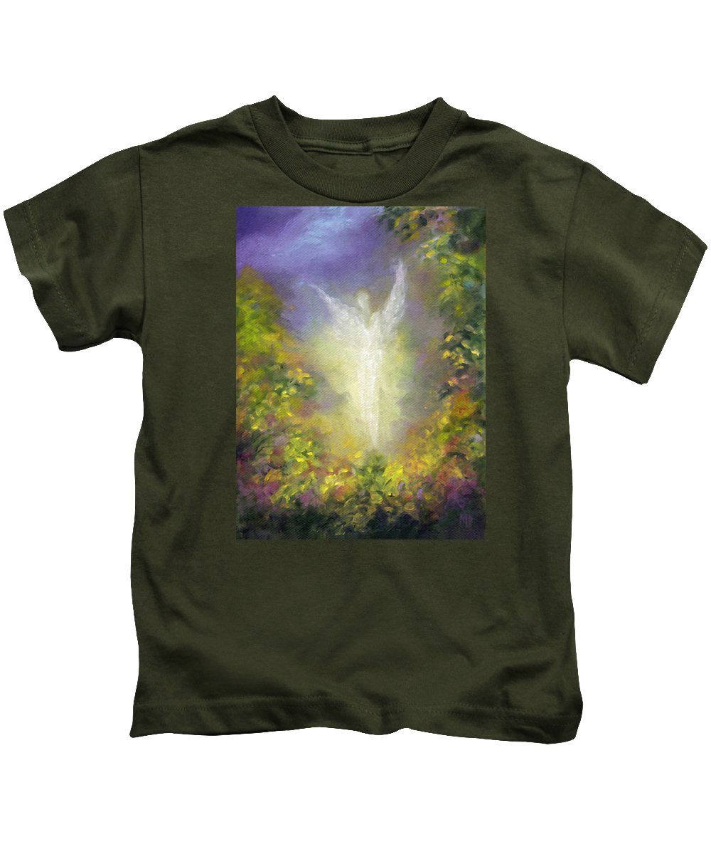 Angel Kids T-Shirt featuring the painting Blessing Angel by Marina Petro