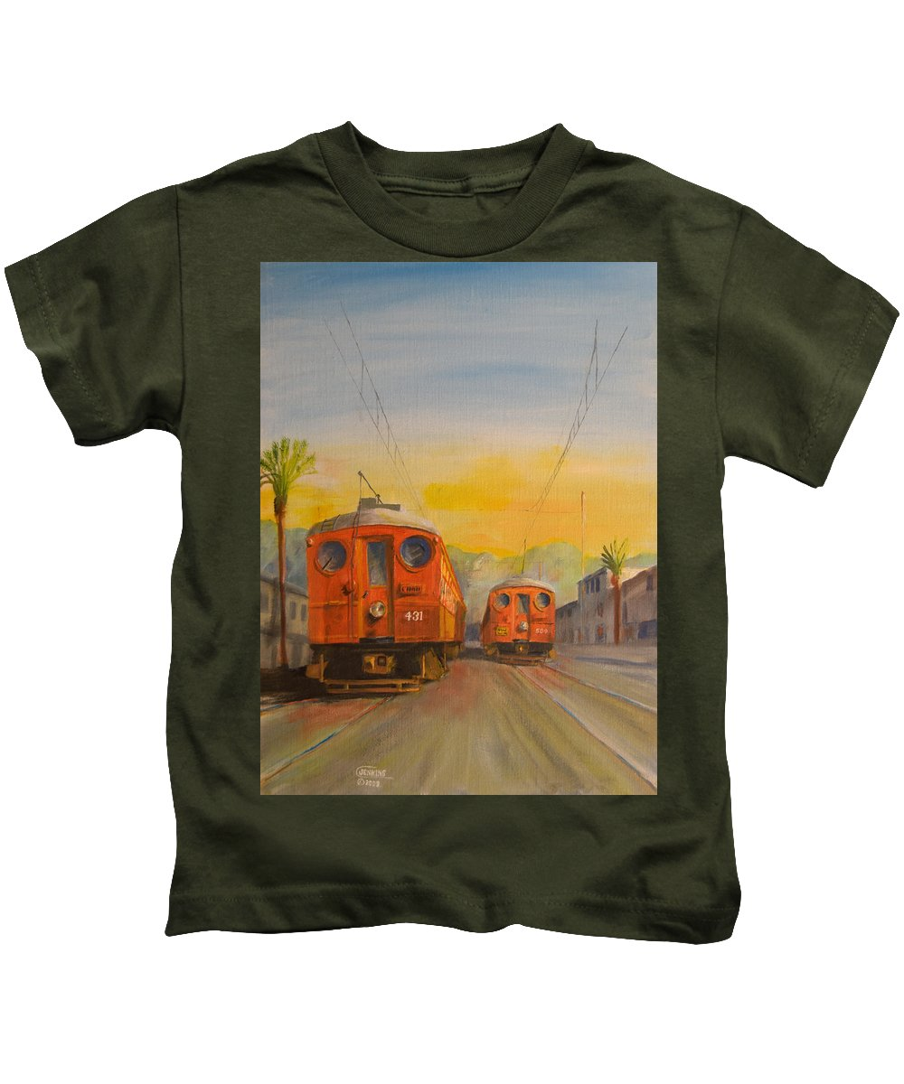 Streetcars Kids T-Shirt featuring the painting Blimps by Christopher Jenkins