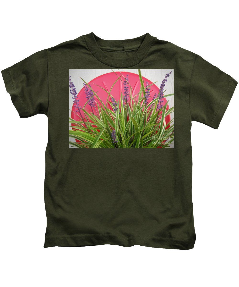 Nature Kids T-Shirt featuring the photograph Blooming Spider Against Red by Lucyna A M Green
