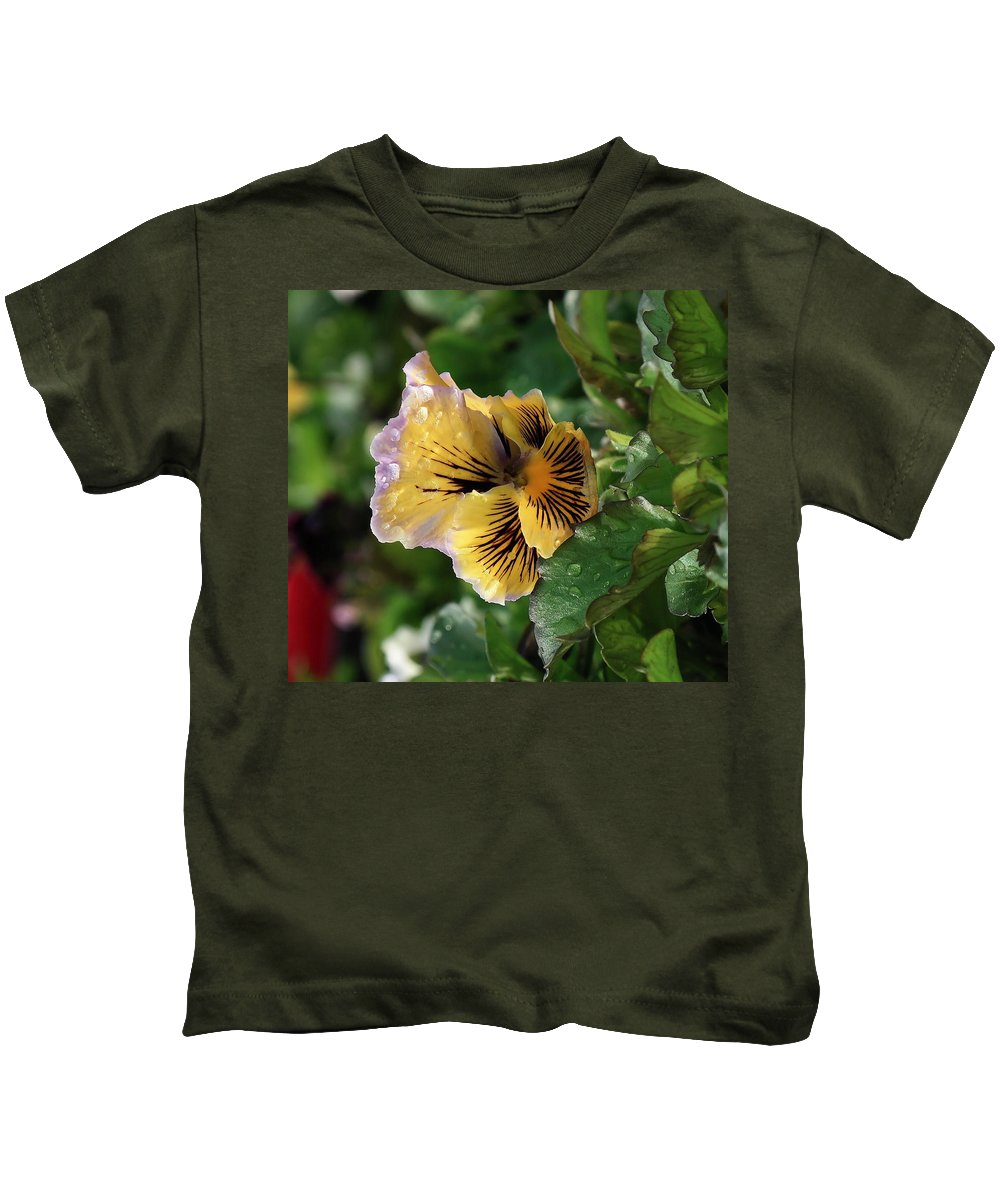 Floral Kids T-Shirt featuring the photograph Blossoms And Waterdrops by Jeff Swan