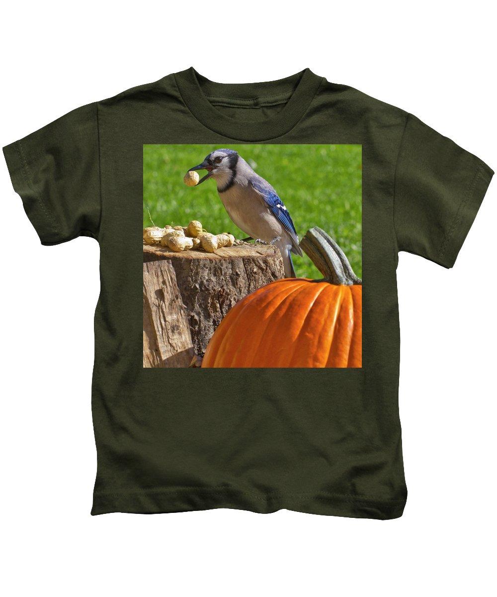 Backyard Kids T-Shirt featuring the photograph Blu Goes Nuts by Shelley Neff