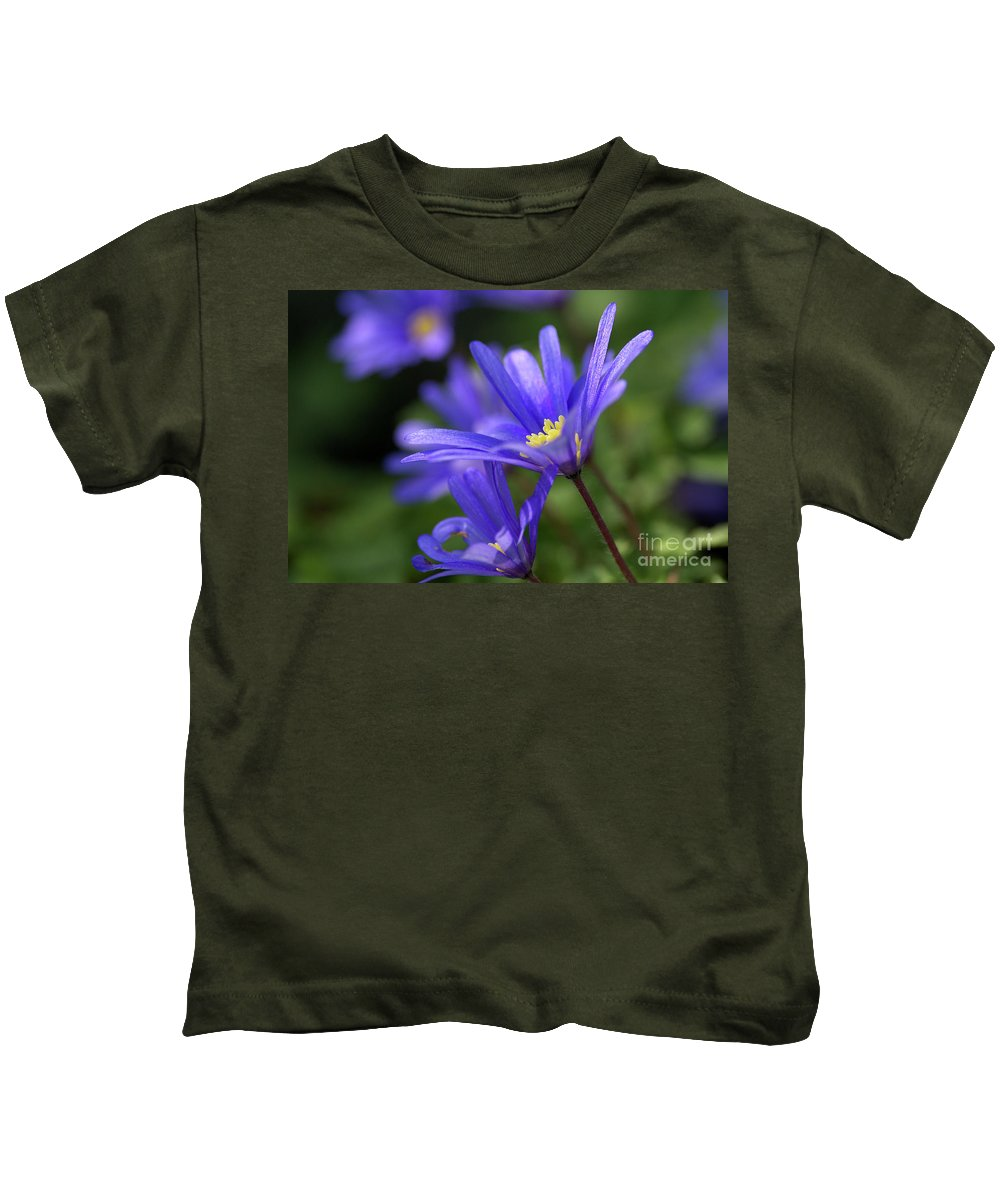 Anemone Kids T-Shirt featuring the photograph Blue Anemone by Sharon Talson