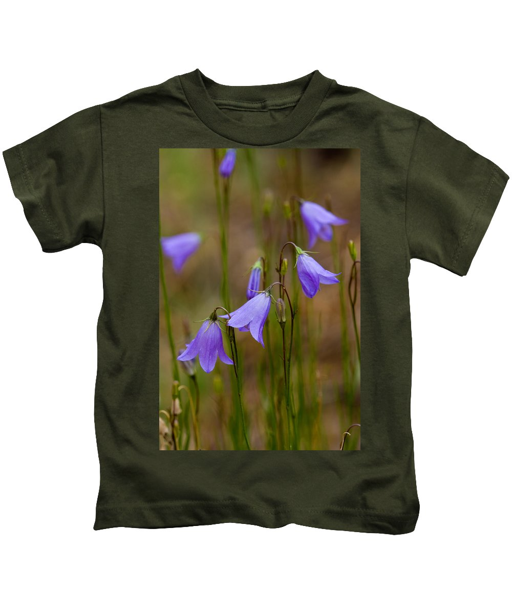 Blue Bells Kids T-Shirt featuring the photograph Blue Bells Wyoming by Rich Franco