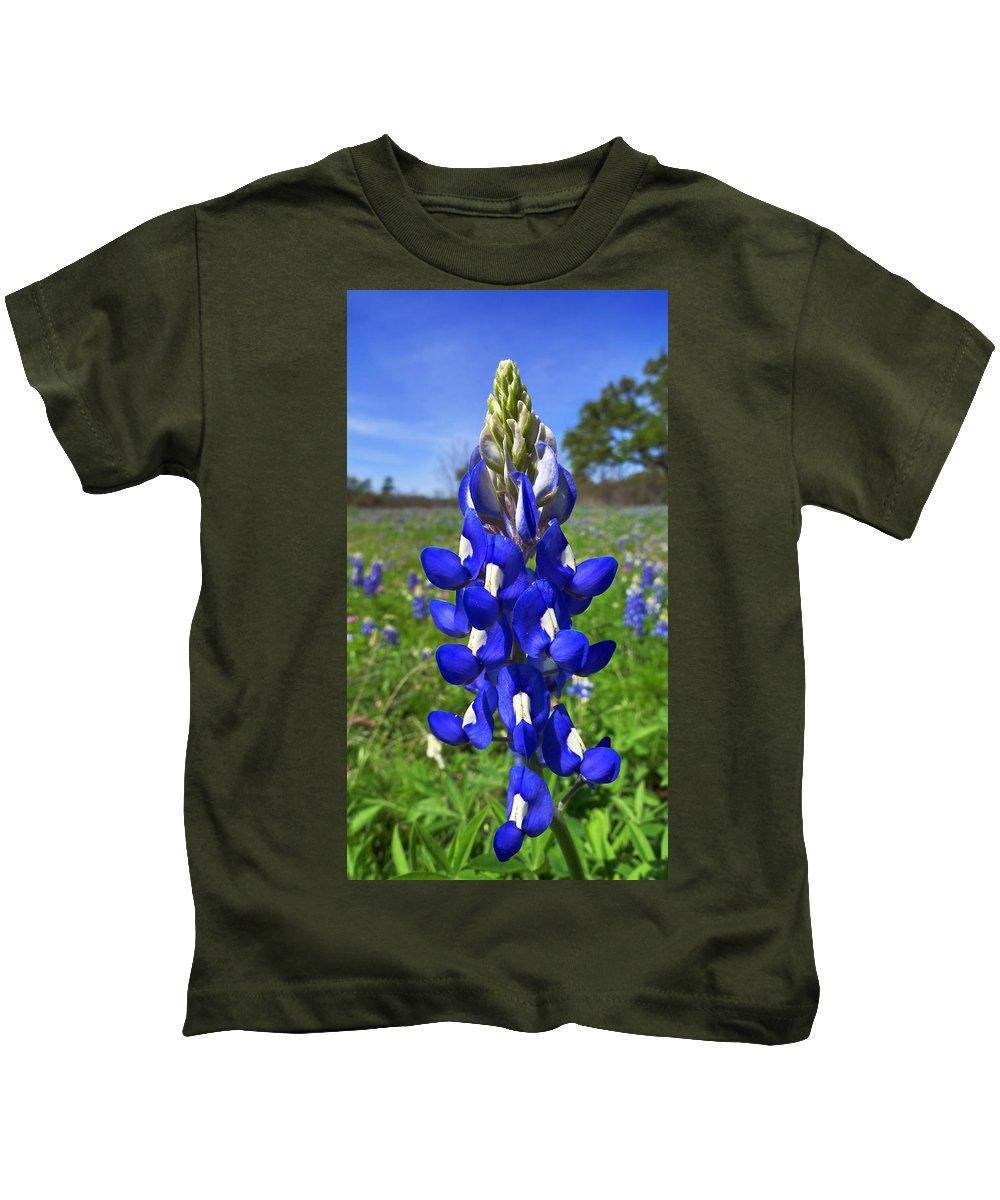 Blue Bonnet Kids T-Shirt featuring the photograph Blue Bonnet by Skip Hunt