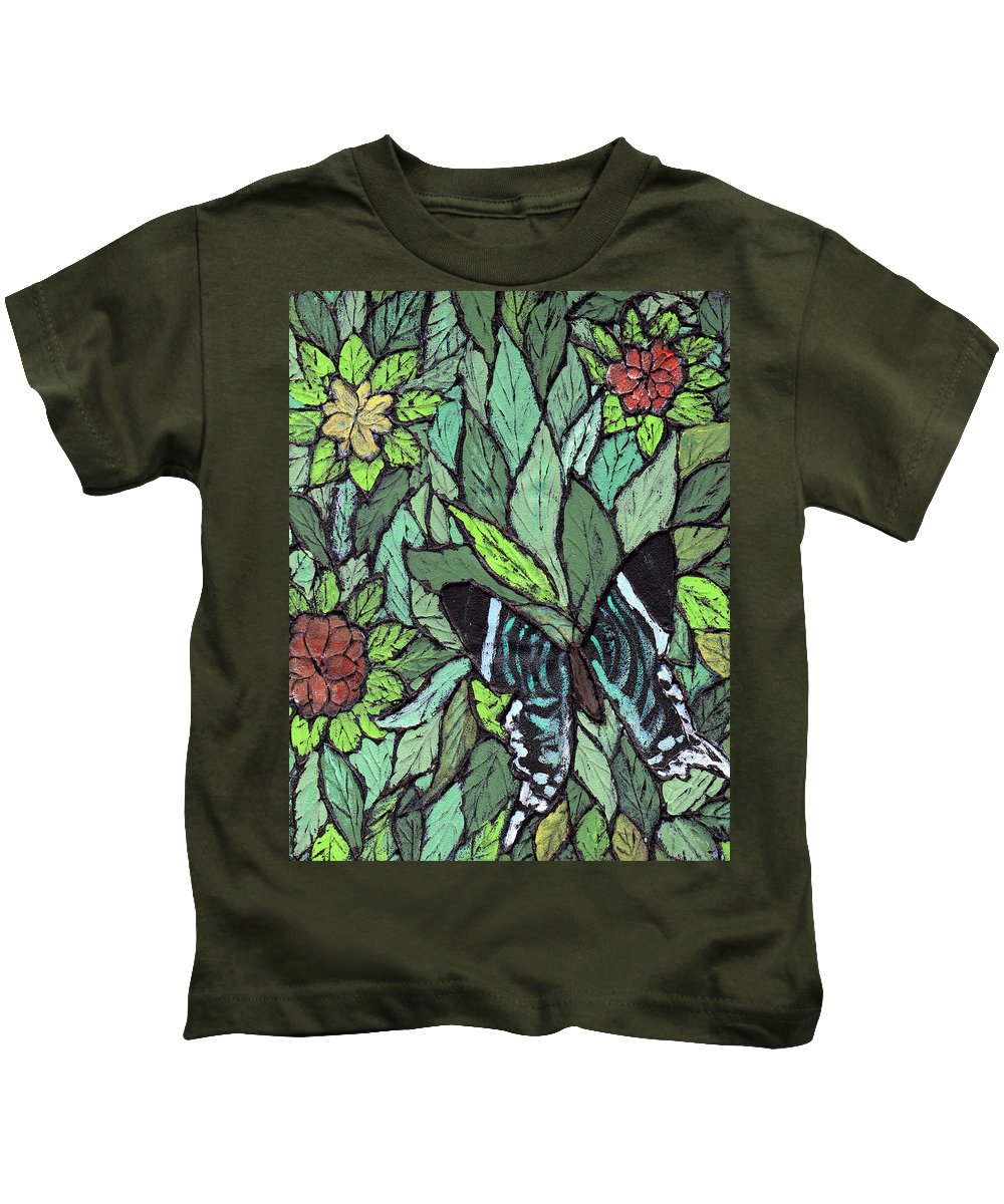 Butterfly Kids T-Shirt featuring the painting Blue Butterfly by Wayne Potrafka