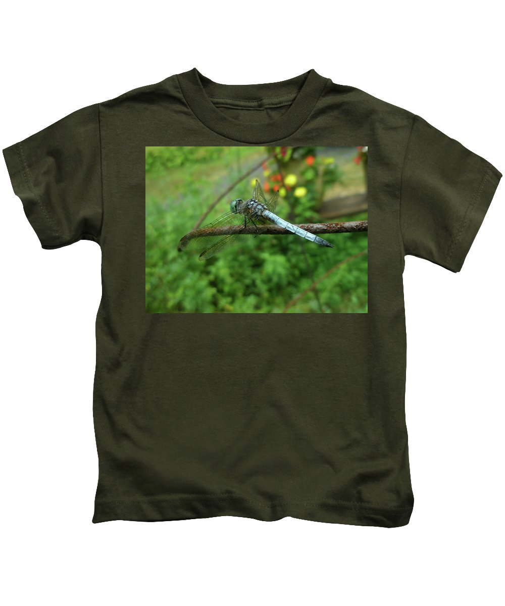 Dragonfly Kids T-Shirt featuring the photograph Blue Dragonfly by Mother Nature