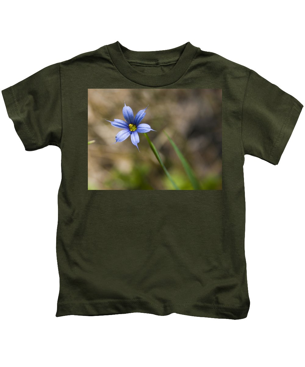 Flower Blue Grass Green Small Little Bright Color Colorful Yellow Flora Nature Kids T-Shirt featuring the photograph Blue-eyed Grass II by Andrei Shliakhau