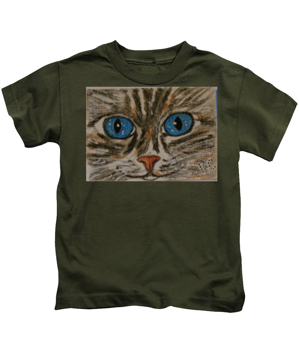 Blue Eyes Kids T-Shirt featuring the painting Blue Eyed Tiger Cat by Kathy Marrs Chandler