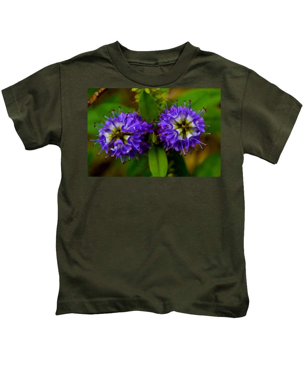 Blue Flowers Kids T-Shirt featuring the photograph Blue Eyes by Ludmila SHUMILOVA