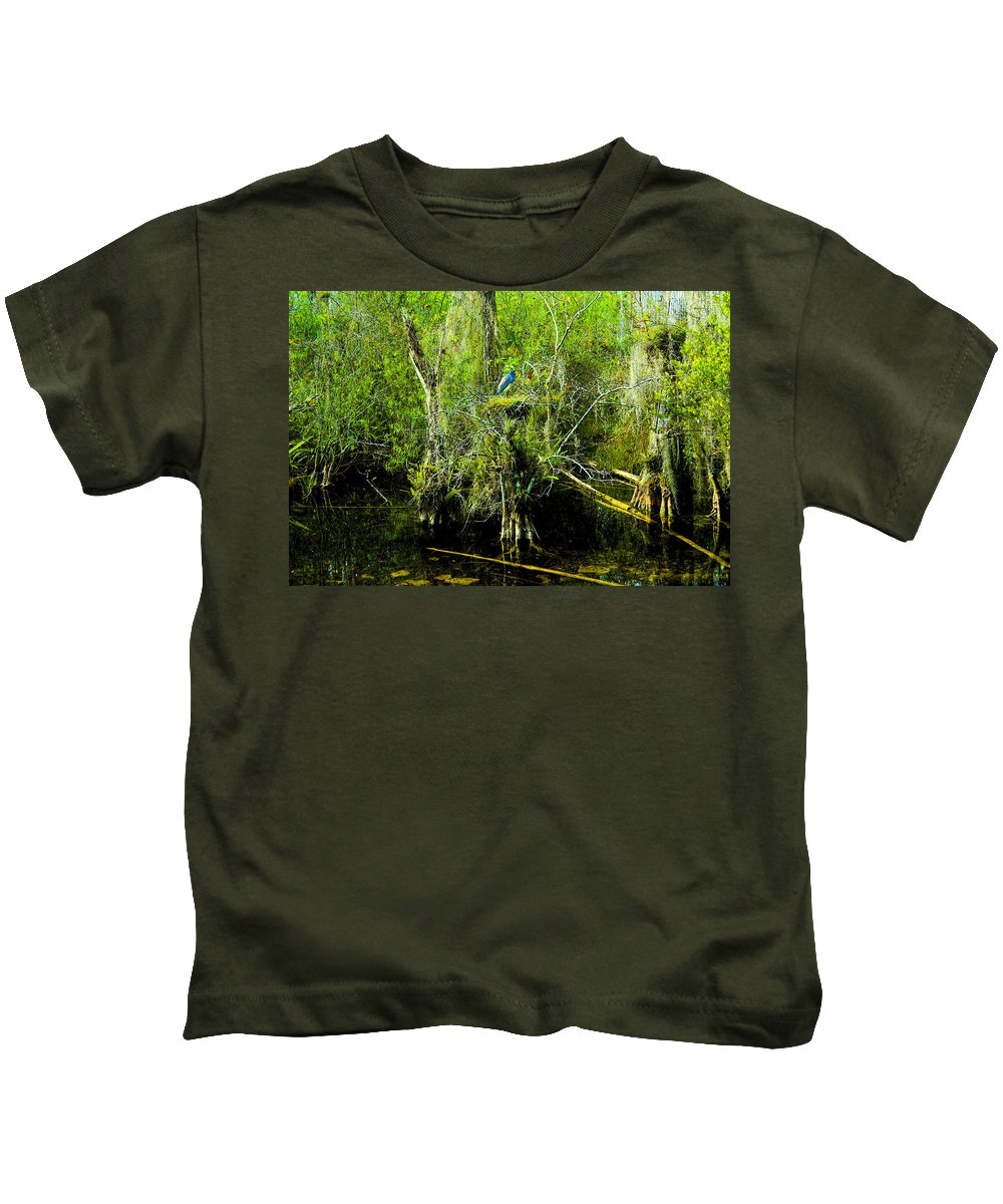 Art Kids T-Shirt featuring the painting Blue Heron by David Lee Thompson