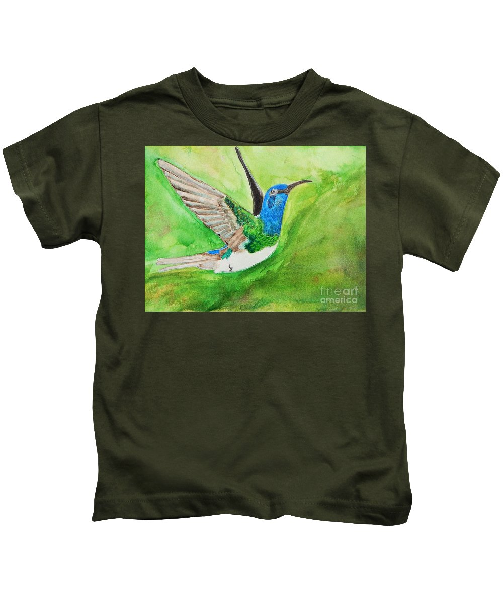 Humming Bird Kids T-Shirt featuring the painting Blue Humming Bird by Barbara King