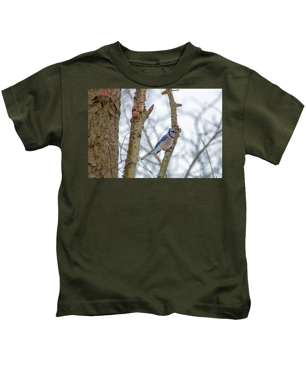Small Bird Kids T-Shirt featuring the photograph Blue Jay by David Arment