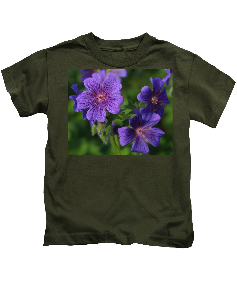 Blue Kids T-Shirt featuring the photograph Blue Raindrops by Ian MacDonald