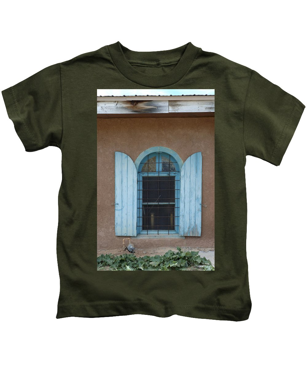 Adobe Kids T-Shirt featuring the photograph Blue Shutters by Jerry McElroy
