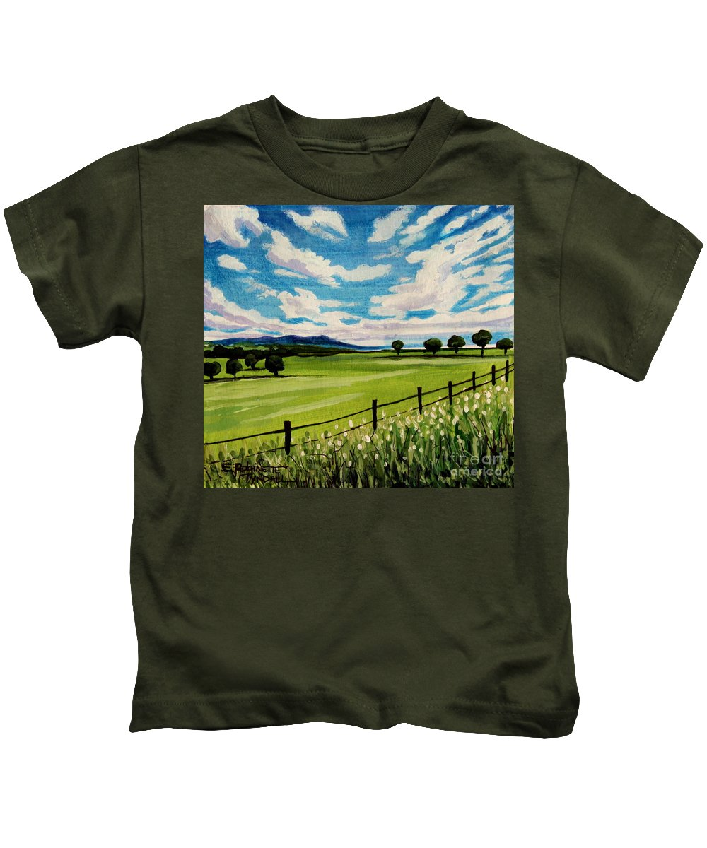 Landscape Kids T-Shirt featuring the painting Blue Skies by Elizabeth Robinette Tyndall