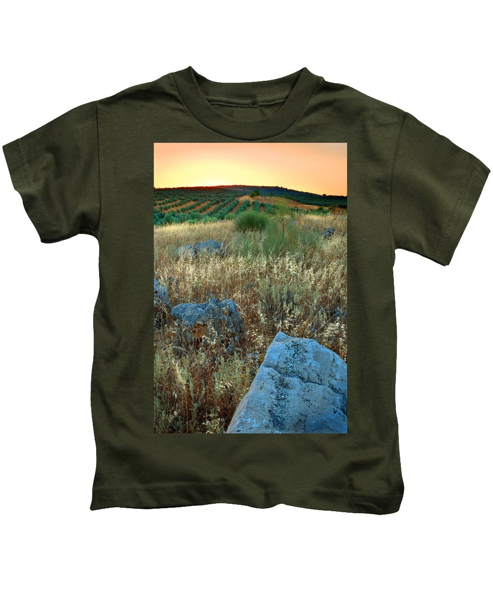 Iznajar Kids T-Shirt featuring the photograph blue stones amongst the olive groves near Iznajar Andalucia Spain by Mal Bray