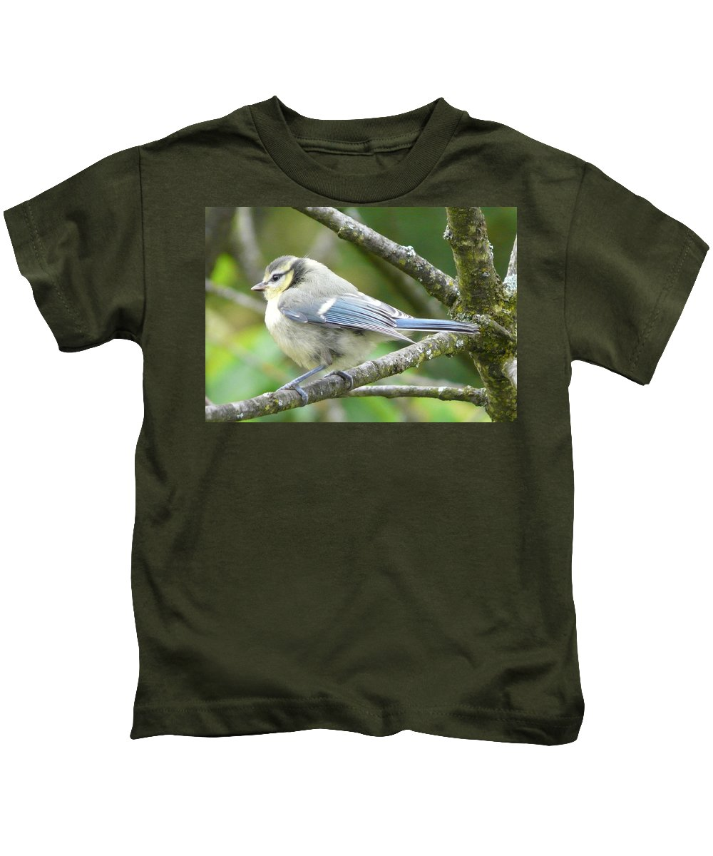 Bird Kids T-Shirt featuring the photograph Blue Tit by Valerie Ornstein