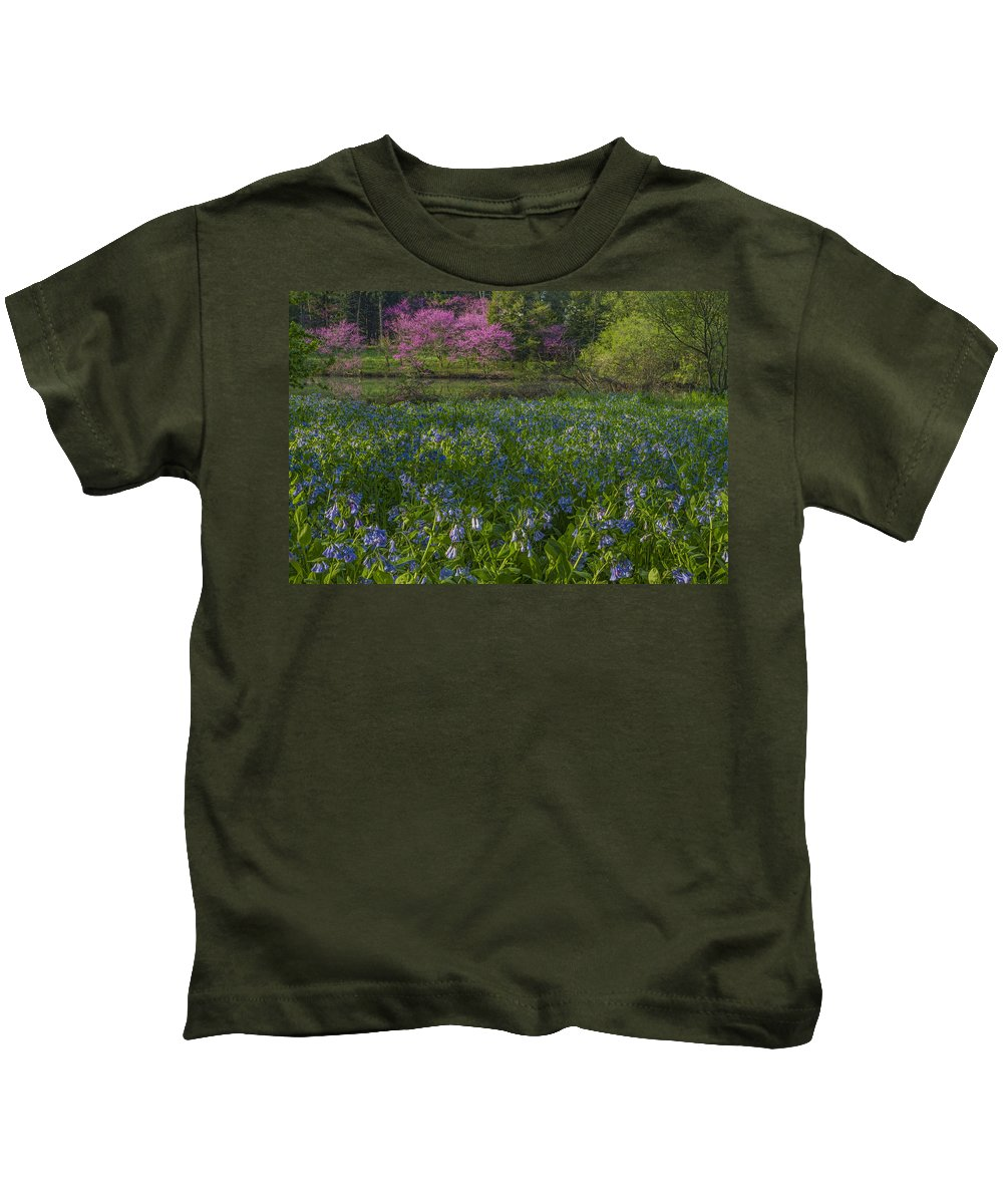 Redbud Kids T-Shirt featuring the photograph Bluebells And Redbuds by Lindley Johnson