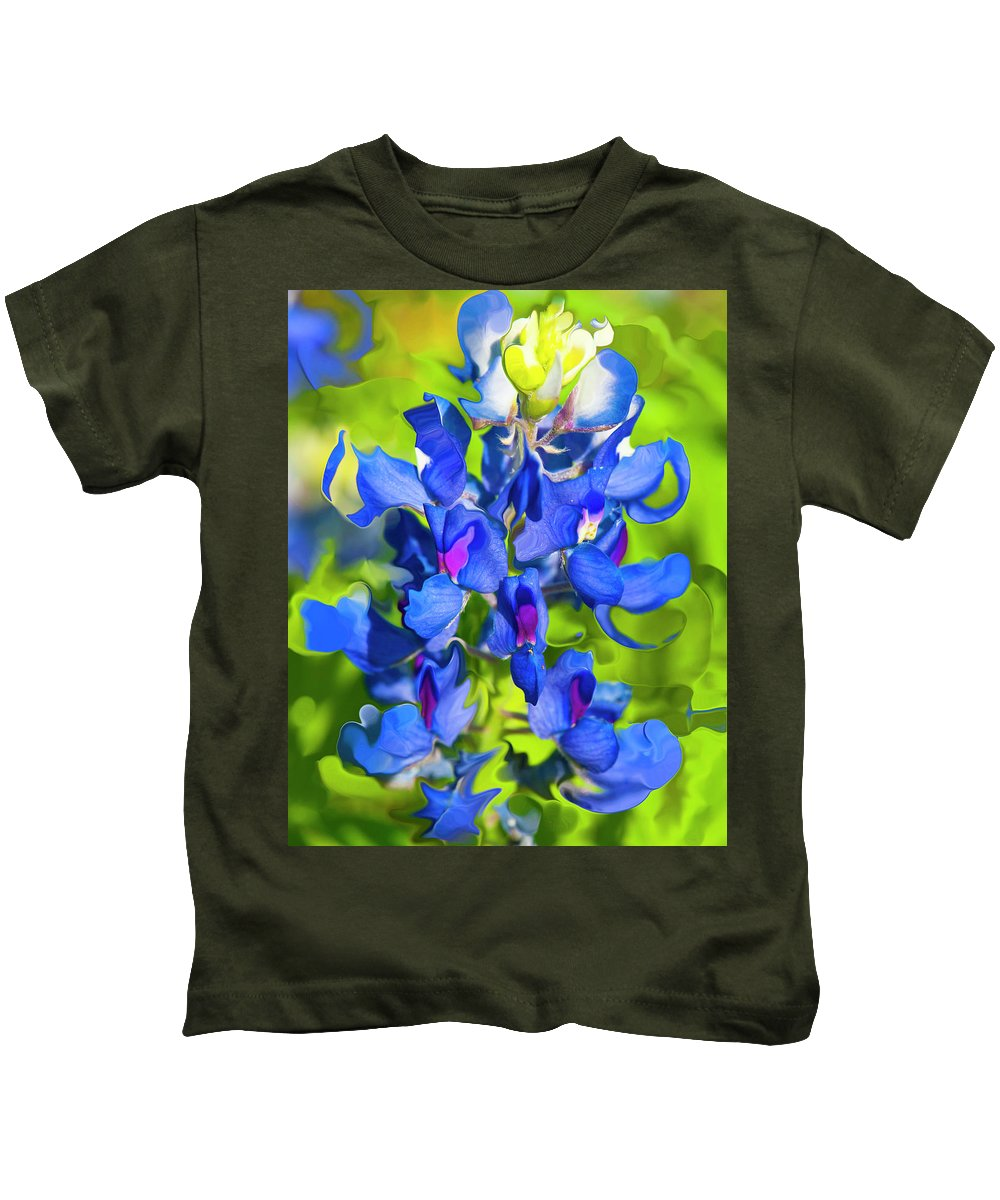 Flower Kids T-Shirt featuring the photograph Bluebonnet Fantasy by Stephen Anderson