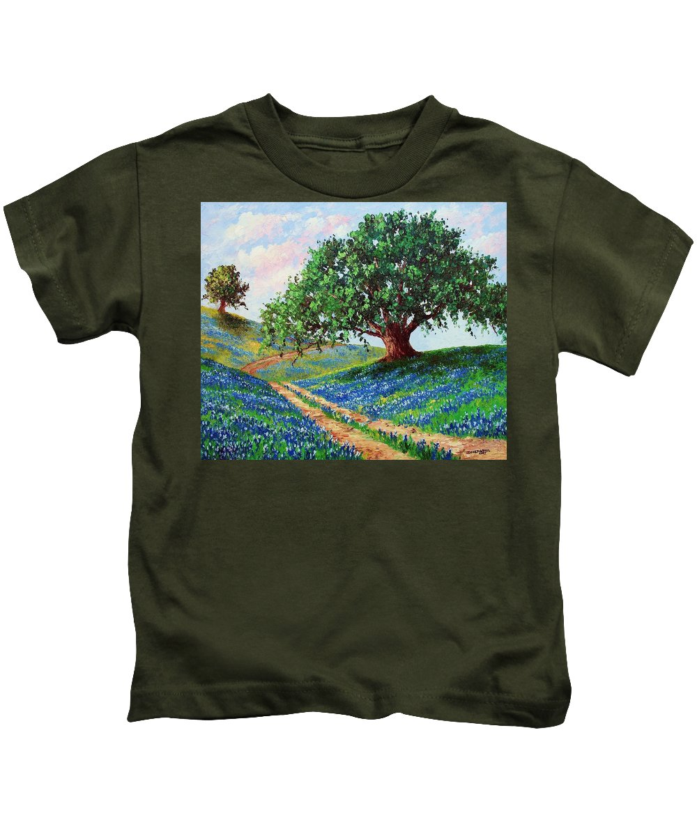 Bluebonnet Kids T-Shirt featuring the painting Bluebonnet Road by David G Paul