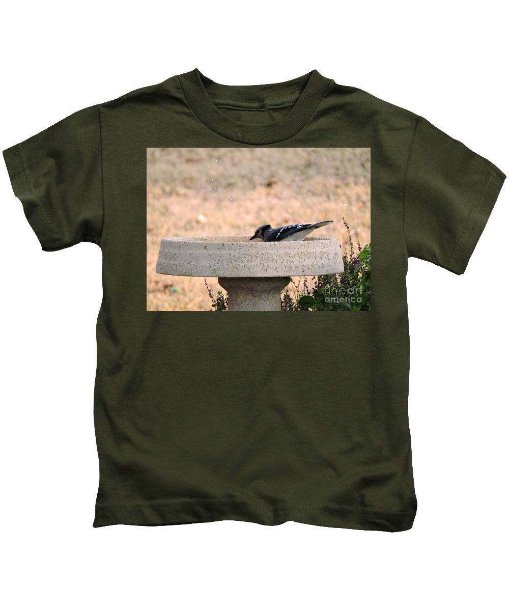 Blue Jay Kids T-Shirt featuring the photograph Blue Jay During Bath by Beth Williams