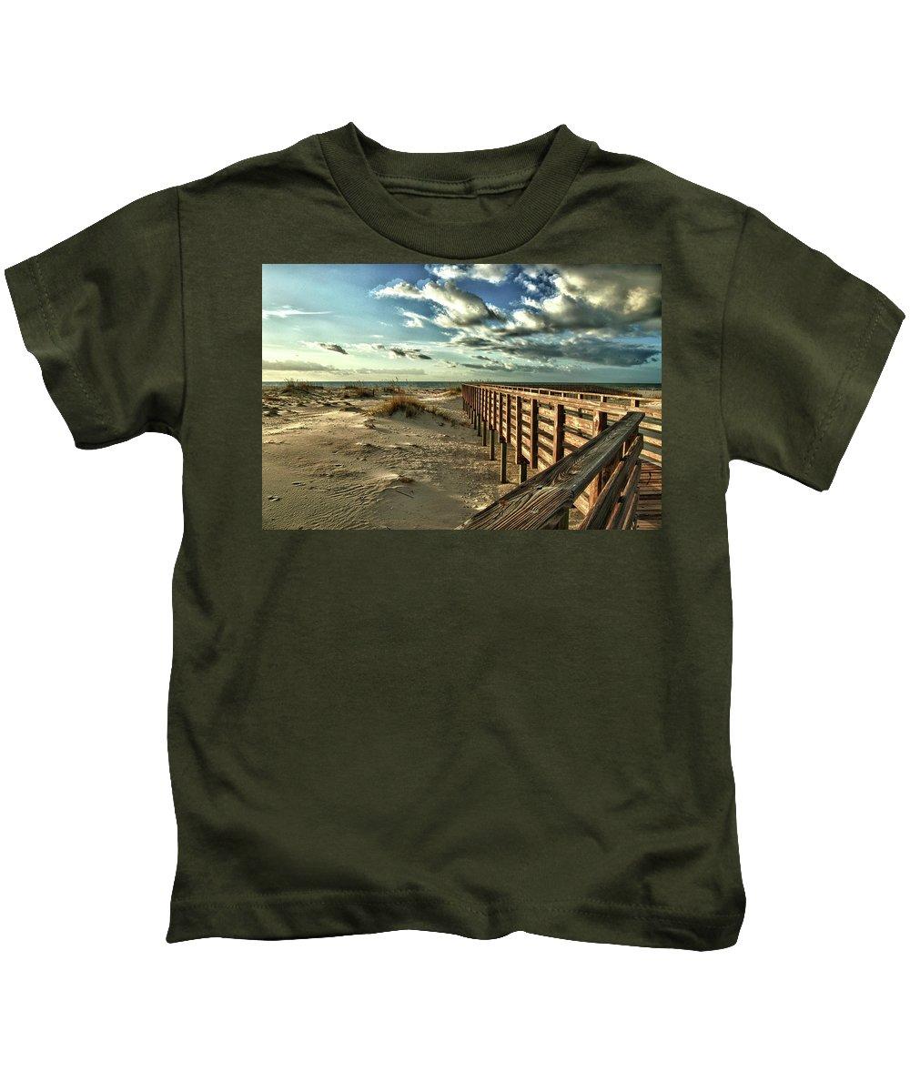 Alabama Photographer Kids T-Shirt featuring the digital art Boardwalk On The Beach by Michael Thomas