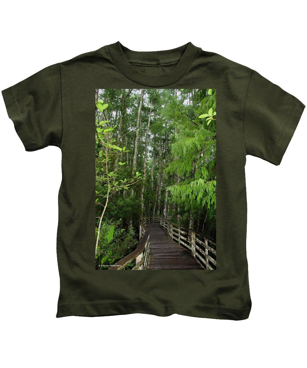 Bald Cypress Tree Kids T-Shirt featuring the photograph Boardwalk Through The Bald Cypress Strand by Barbara Bowen