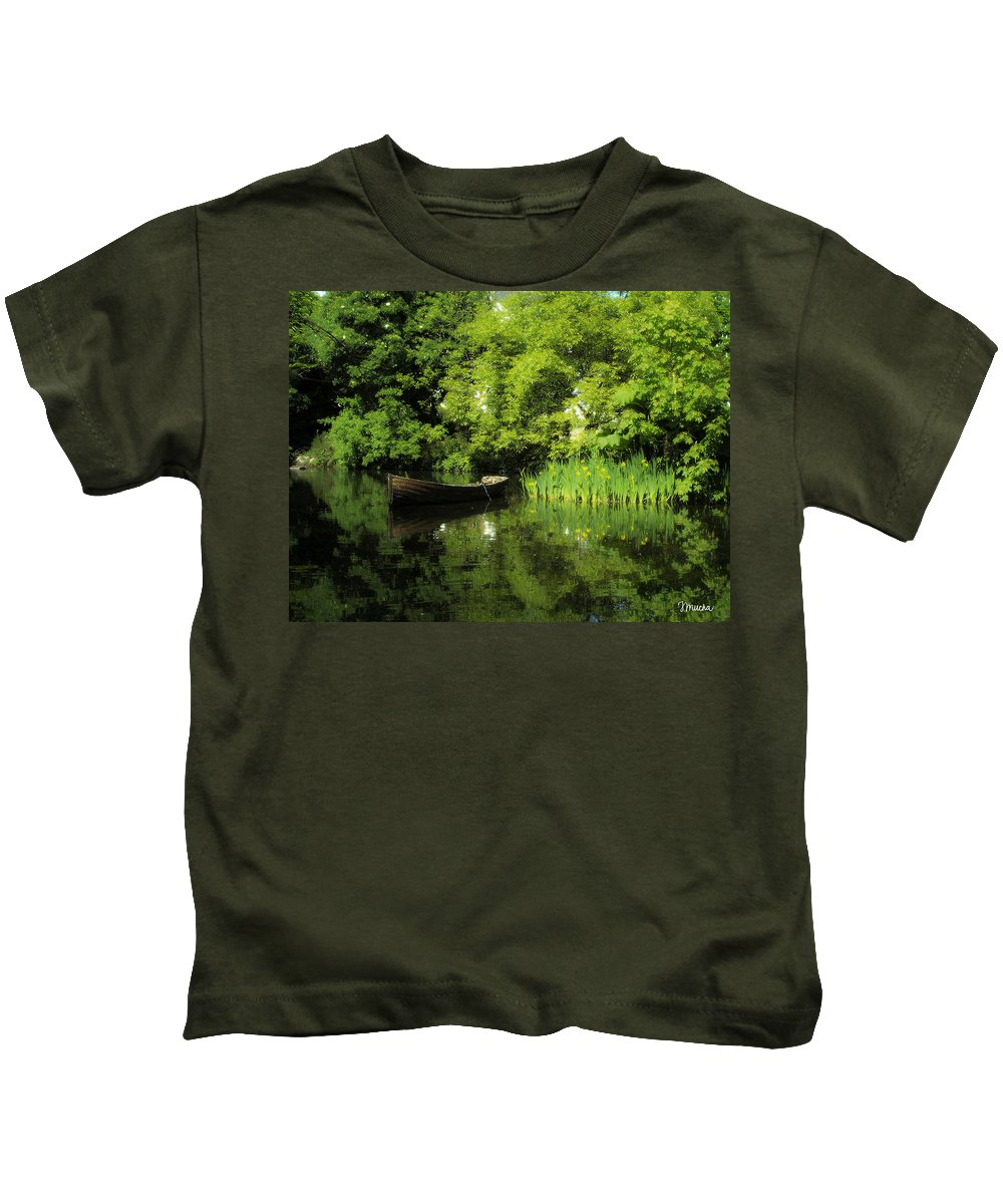 Irish Kids T-Shirt featuring the digital art Boat Reflected On Water County Clare Ireland Painting by Teresa Mucha