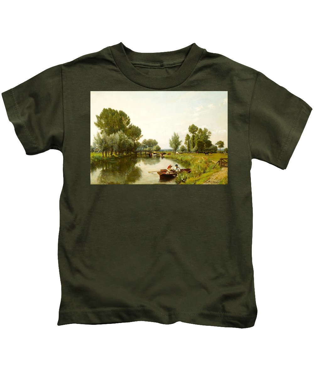Rederick George Cotman Kids T-Shirt featuring the painting Boating On The Stour by MotionAge Designs