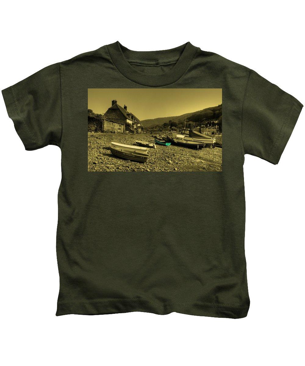 Porlock Kids T-Shirt featuring the photograph Boats At Porlock Weir by Rob Hawkins