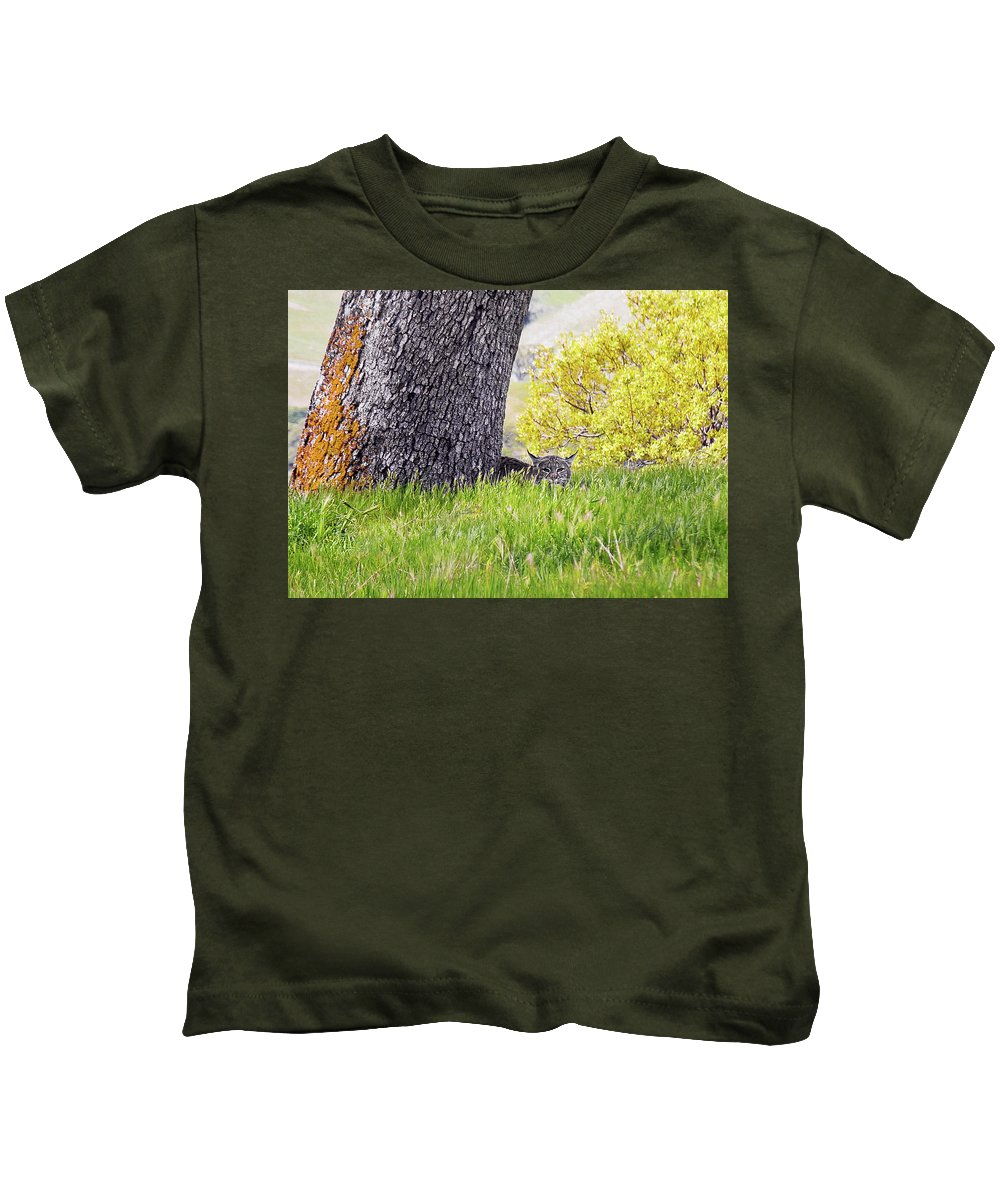 Landscape Kids T-Shirt featuring the photograph Bobcat Watch by Karen W Meyer