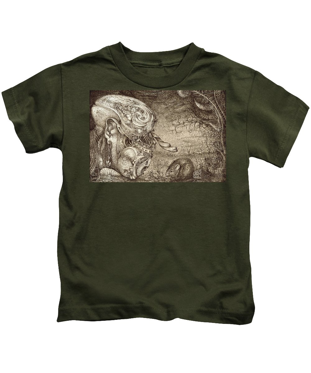 Surreal Kids T-Shirt featuring the drawing Bogomils Mousetrap by Otto Rapp