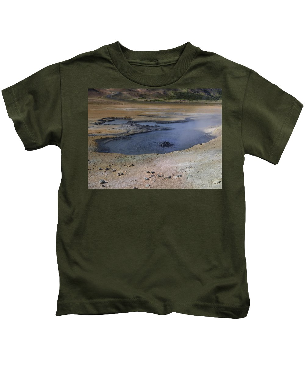 Iceland Kids T-Shirt featuring the photograph Boiling Mud Pool Iceland by Elizabetha Fox