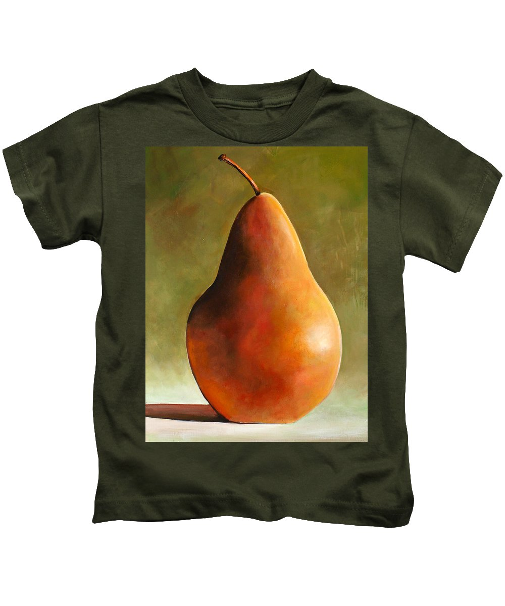 Pear Kids T-Shirt featuring the painting Bosc Pear by Toni Grote