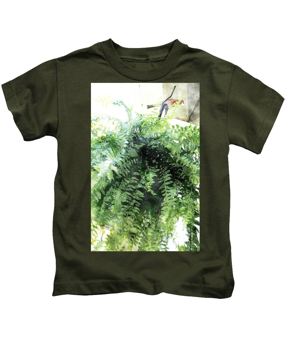 Boston Fern Kids T-Shirt featuring the photograph Boston Fern With Visitor by Donna Bentley