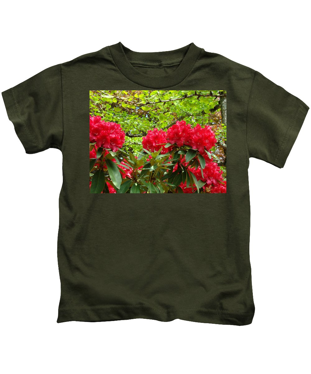 Rhodies Kids T-Shirt featuring the photograph Botanical Garden Art Prints Red Rhodies Trees Baslee Troutman by Baslee Troutman