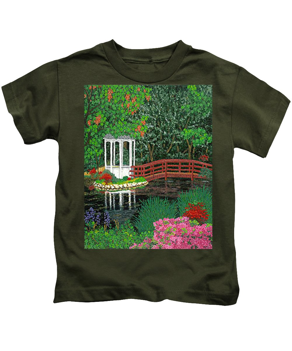 Art Kids T-Shirt featuring the painting Botanical Garden Park Walk Pink Azaleas Bridge Gazebo Flowering Trees Pond by Baslee Troutman